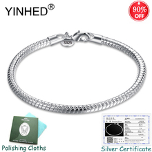 Sent Silver Certificate! YINHED 100% 925 Sterling Silver Snake Bone Chain Bracelet for Women Fashion Jewelry S925 Stamped ZB026 цена 2017