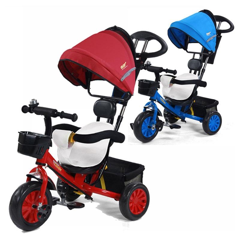 Bébé Tricycle poussette vélo Buggy landau pour enfants Trike enfant en bas âge Tricycle vélo enfants courir vélo coussin amovible 6M ~ 6Y
