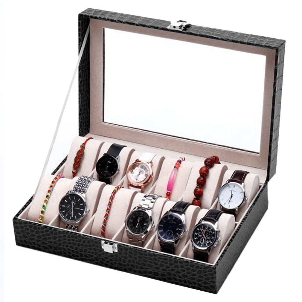 12 Grids Crocodile Glass Transparent Top Lid PU Leather Watch Display Box Jewelry Storage Case Tray Displaying Watche or Jewelry