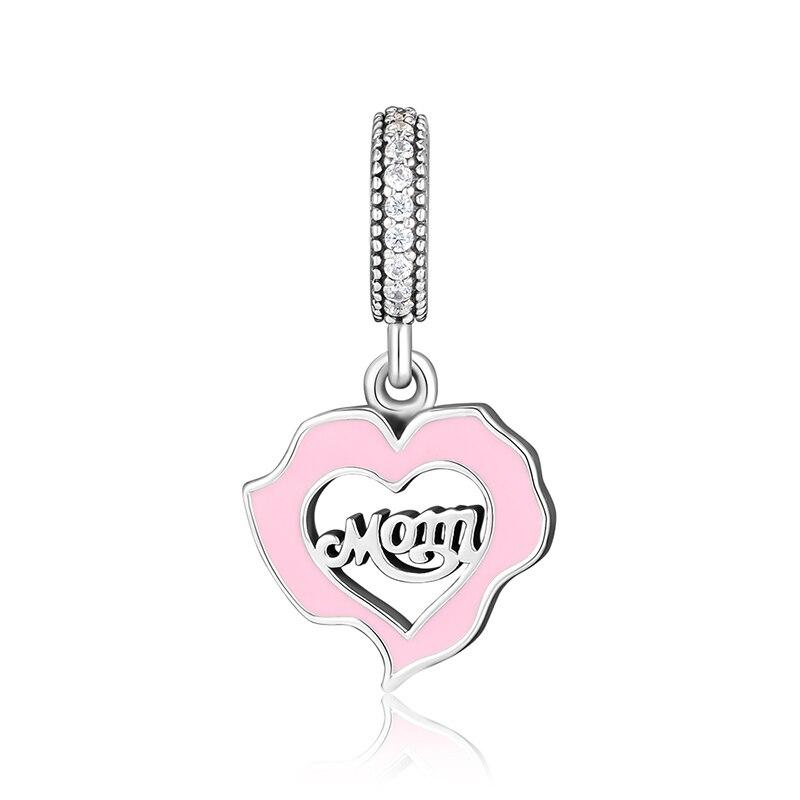 Подходит для Pandora талисманы браслеты Мама Любовь бусины с розовой эмалью и ясно CZ 925 пробы 100% серебряные украшения Бесплатная доставка