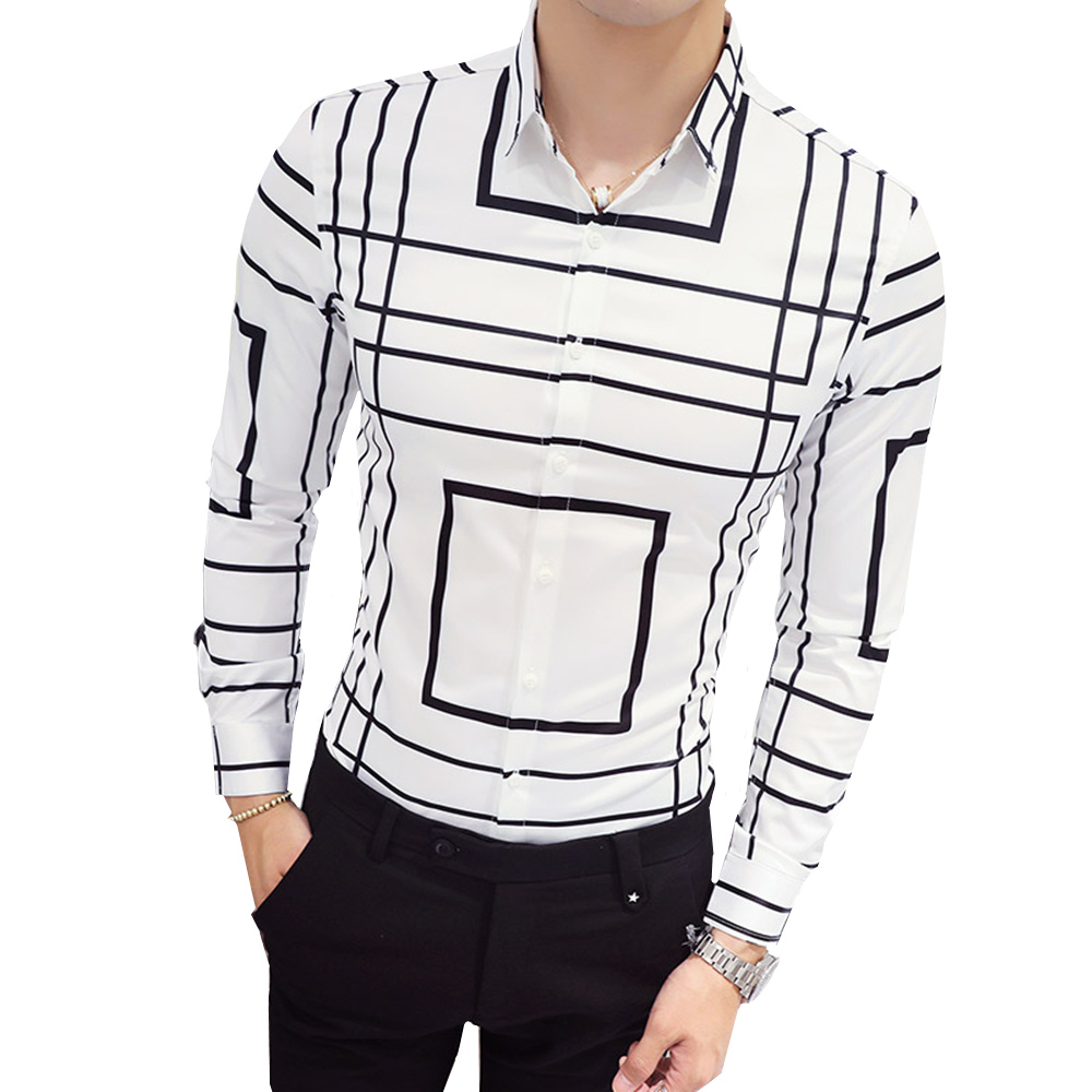2019 Autumn New Social Men Shirt Slim Fit Fashion Striped Print Comfortable Breathable Business Casual Long-Sleeved Dress Shirt