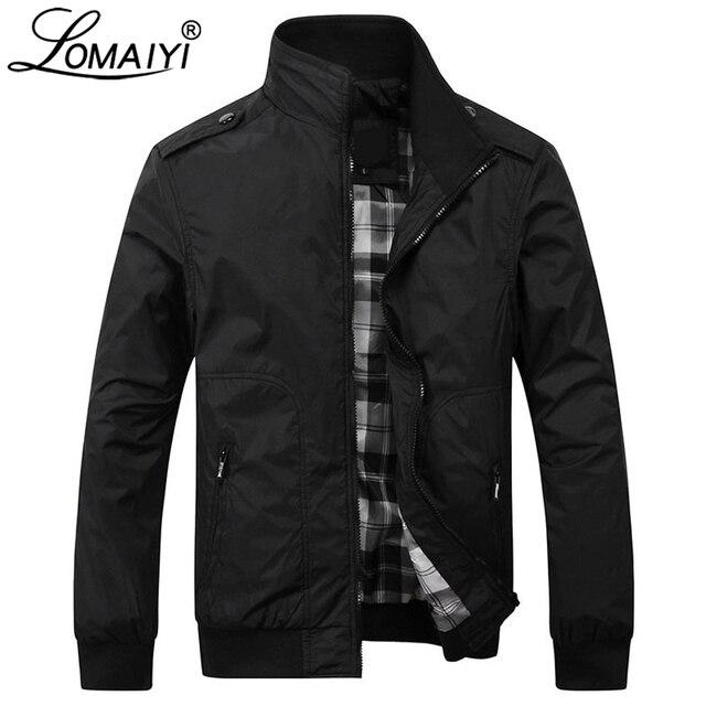 LOMAIYI Men's Spring/Autumn Jacket Men Slim Fit Fashion Windbreaker Man Black/Khaki Casual Jacket Mens Jackets And Coats BM160