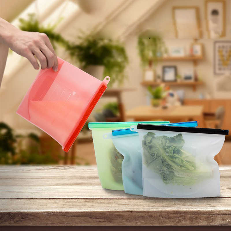 1000ml Silicone Food Pouch Bag Ziplock Reusabl Seal Vacuum Sealer Refrigerator Fruit Meat Milk Storage Bags  Kitchen Accessories