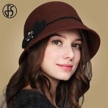 FS 100% de lana de las mujeres Vintage tapa flor sombreros de ala ancha  cúpula 65445cad965