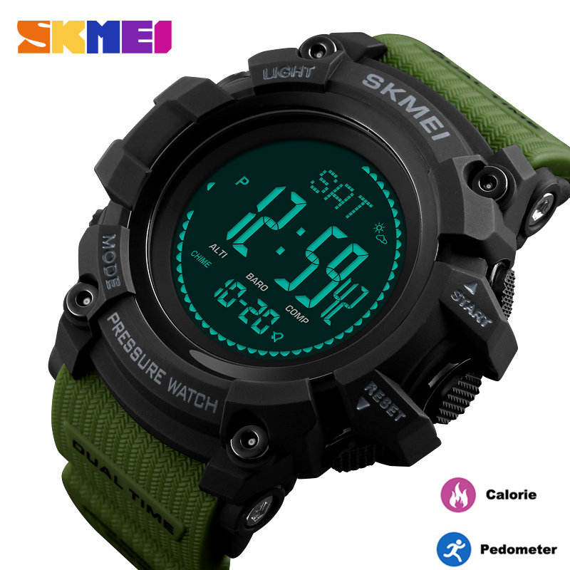 <font><b>SKMEI</b></font> Luxury Calories Digital Sport Men Watch Military Waterproof Outdoor Compass Temperature Altimeter Clock Relogio Masculino image