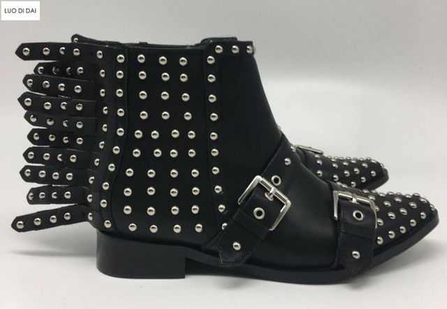 72c7108cf5c1 2019 ladies rivets ankle boots fashion women chelsea boots black leather  spike stud booties flat heel knight booties party shoes