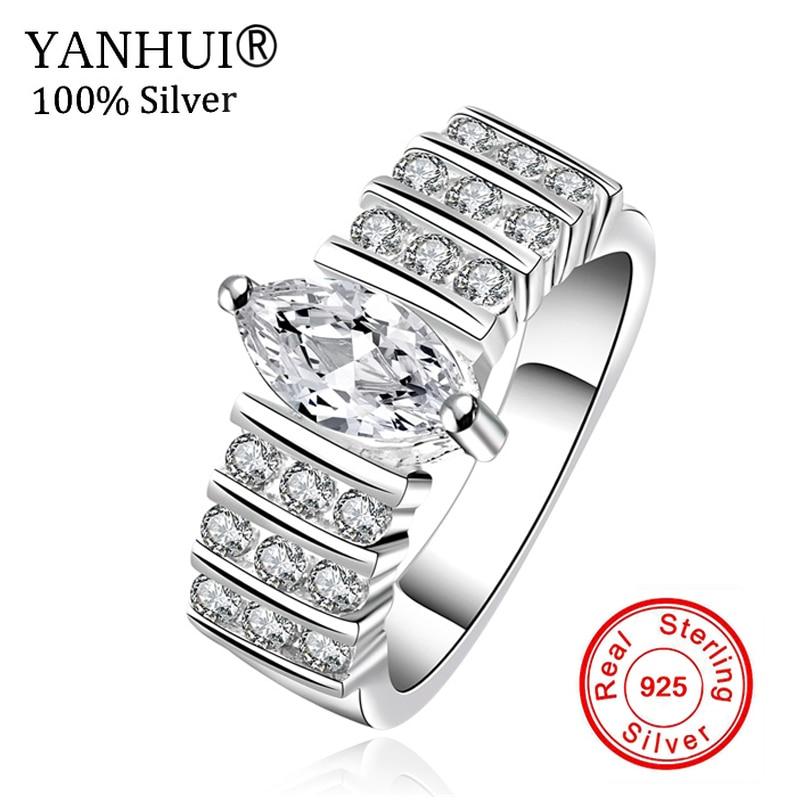 Yanhui nueva moda 100% plata 925 anillo tiene S925 logo plata joyería 3 CZ  Diamant boda Anillos para mujeres YR524 09b9d66940c