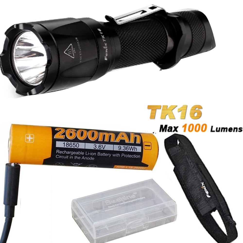 Fenix TK16 1000 Lumens Cree XM-L2 (U2) LED tactical Flashlight with ARB-L18-2600U Battery ,Charge Cable,battery case