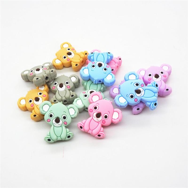 50Pcs Cute Pig Silicone Teething Beads DIY Baby Nursing Chewable Teether Making