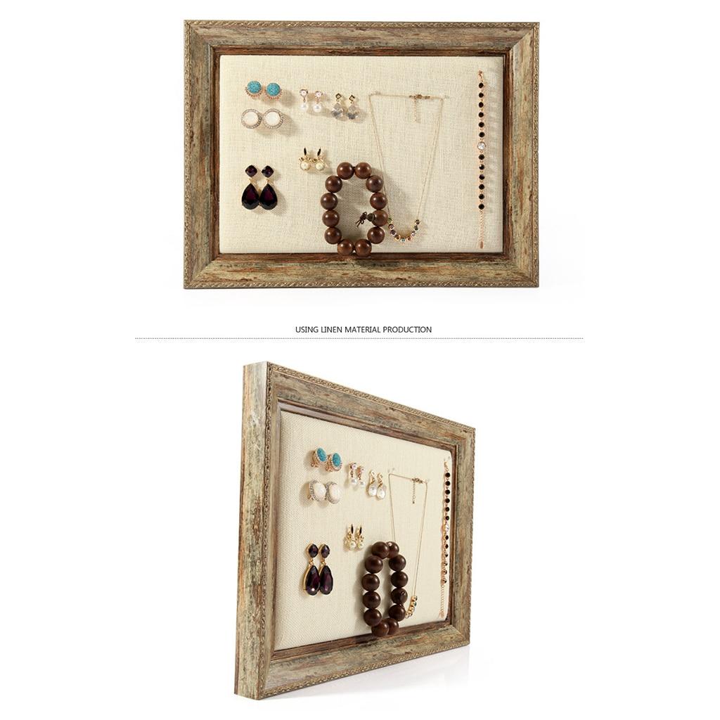 Винтаж деревянный потертый шик фото Рамки браслет Цепочки и ожерелья украшения настенный Дисплей организаторы