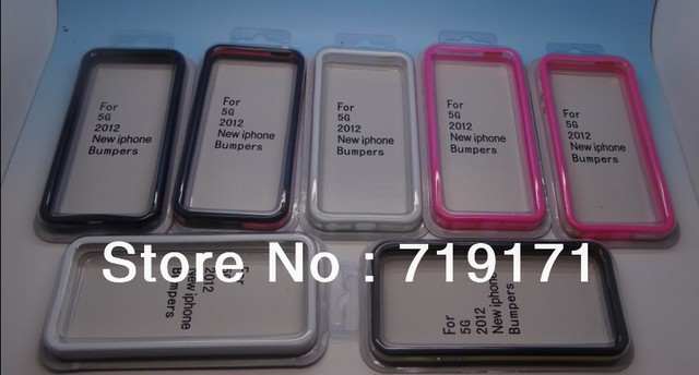 1pcs/lot free ship Soft Plastic Bumper Case Cover For iPhone 5 5G +1pcs film
