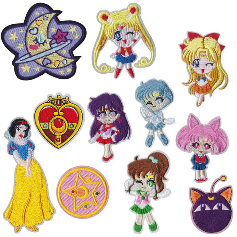 11Pcs/Pack Anime Sailor Moon Cute Embroidered <font><b>Patch</b></font> <font><b>Iron</b></font> <font><b>on</b></font> Clothes <font><b>Patches</b></font> for Clothing <font><b>Kids</b></font> Badges Stickers Garment Appliques image