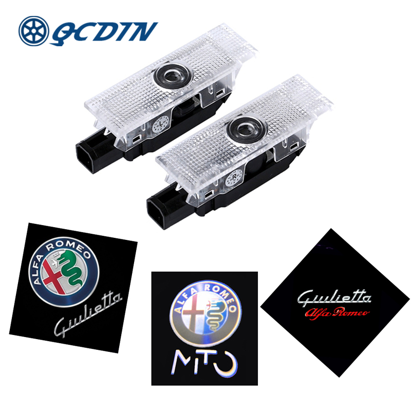 QCDIN for Alfa Romeo 159 2Pcs LED Car Door Welcome Light Logo Projector for Alfa Romeo 159 147 Giulia Giulietta Mito Stelvio bluetooth hands free adaptor car integrated usb aux jack interface for alfa romeo brera gt spider mito 147 156 159 giulietta