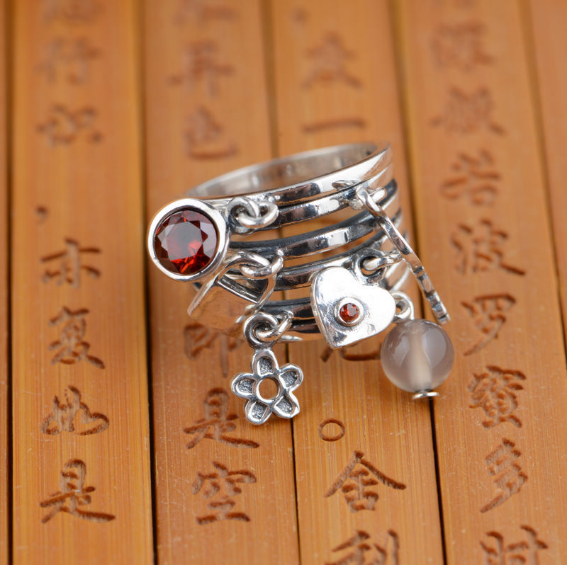 Thai silver S925 silver ring wholesale Silver Antique retro style female fashion style big gift fashion style