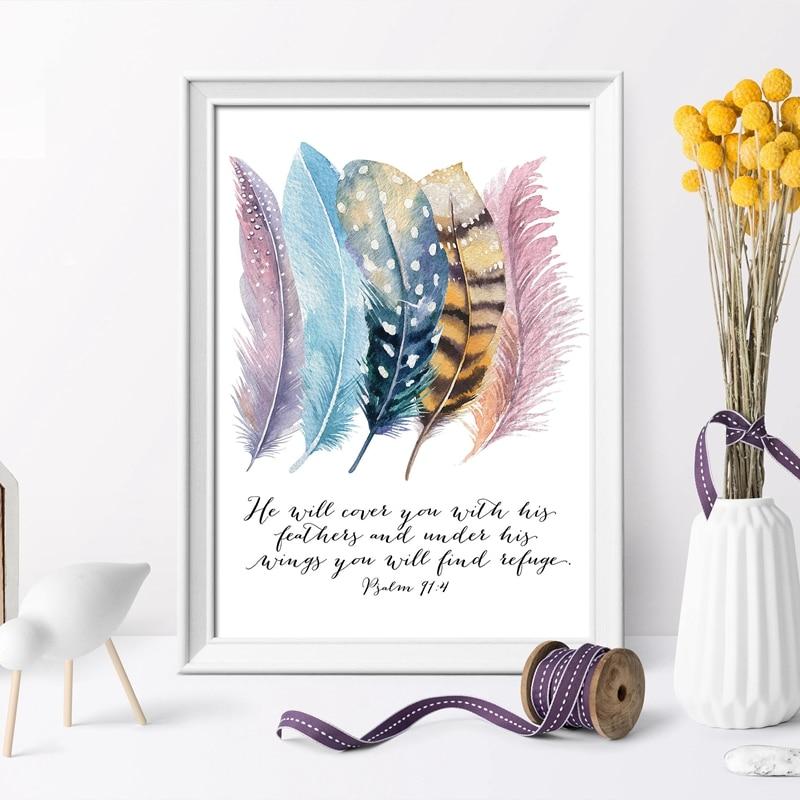 Bible Verse Birds Feathers Canvas Print Home Decor