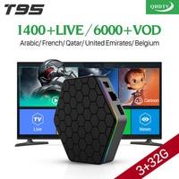 Европа Арабский Французский Каналов IPTV Android 6.0 IPTV TV Box S912 T95ZPLUS 3 Г 32 Г Поддержка Спорта Canal Plus Французский Iptv Set Top коробка