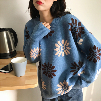 Women's Jumper Cute Kawaii Thick Sweaters Loose Snowflake Loose Lazy Wind Sweater Ulzzang Lady Harajuku Chic Jumper For Women