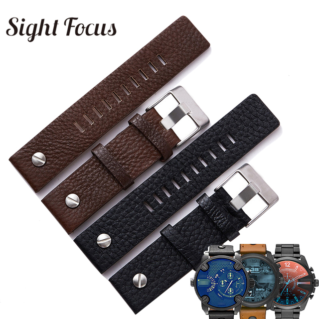 88f8d613e7b 22 24 26 28mm Couro de Bezerro Pulseiras de Relógio para o Relógio Diesel  Cinta para