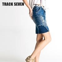 TRACK SEVEN Summer Style Creative Stitching Denim Skirt Women Slim Body Cowboy Hole Lift Lip Denim Skirt For Lady Girl