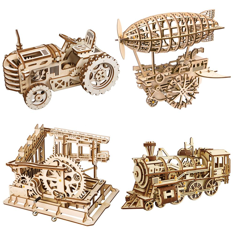 DIY Gear Drive Wooden Puzzle Mechanical Model Kits Assembly Children Adult Gift Toys 70pcs diy wooden theatre mechanical transmission model assembly puzzle toy for kids xmas gift