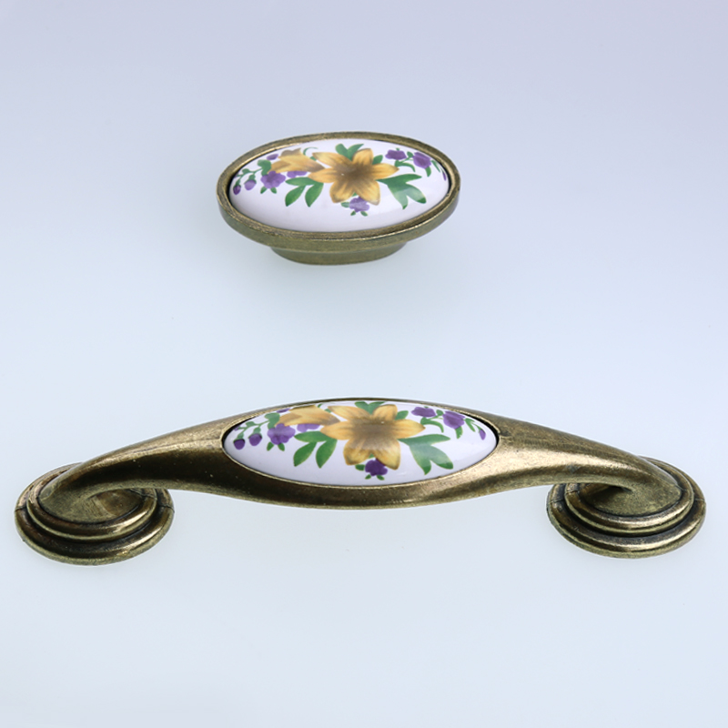 128mm retro style rustico rural green flower ceramic kitchen cabinet cupboard door handles 16mm bronze drawer  cabinet pull knob