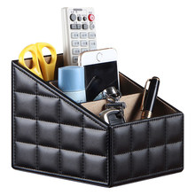 Leather remote control storage box cosmetics coffee table desktop