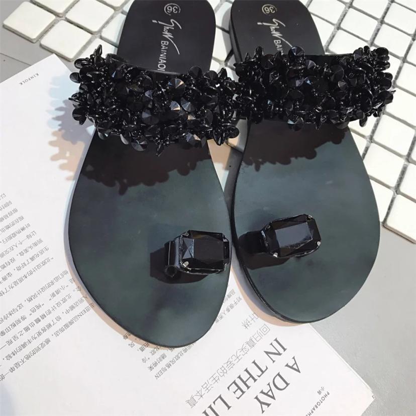 Elégantes Flops Dame Black D'été silver Coins Plat Flips Sandalias Sandales De Glisse Strass Chaude Femmes Chaussures 61WPIqOwP
