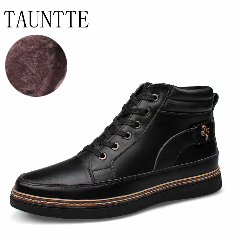 Tauntte Autumn And Winter Keep Warm Men Boots Fashion Lace Up Genuine Leather Ankle Martin Boots With Fur men fashion autumn and winter men  s