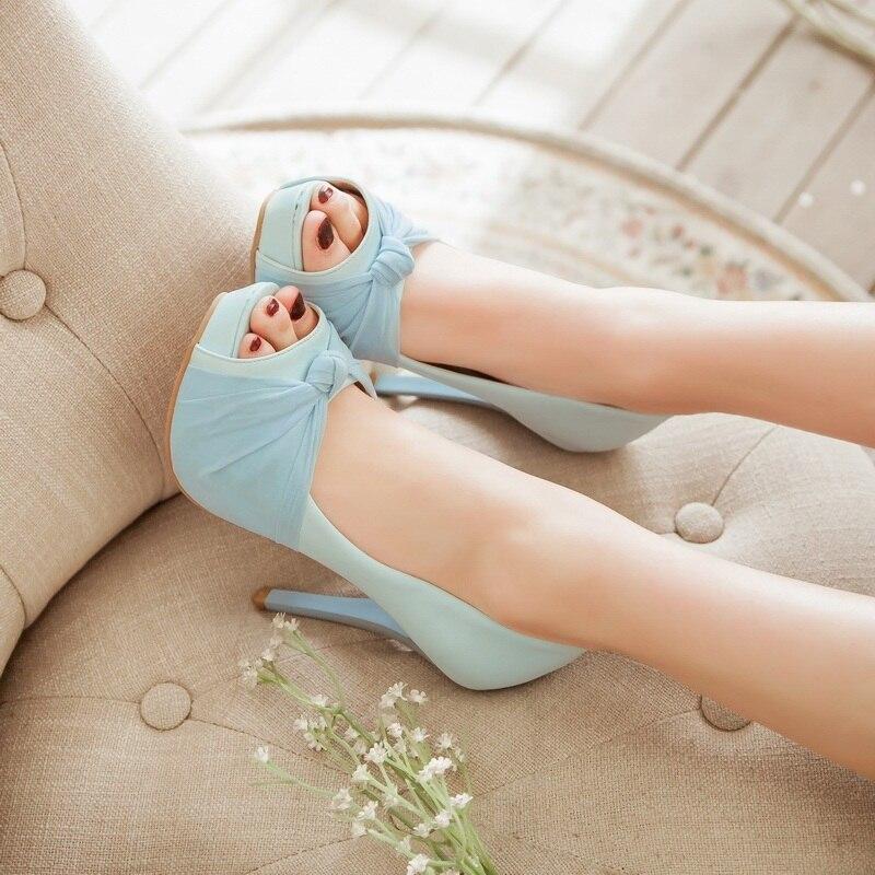 MORAZORA Hot sale new shoes woman pumps big size 33-43 platform shoes high heel 12cm wedding shoes elegant peep toe 8