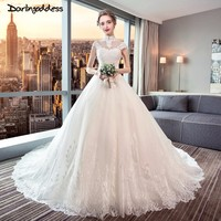 Darlingoddess Vestido De Noiva High Neck Open Back Short Sleeve Muslim Wedding Dress 2018 Lace Pearls