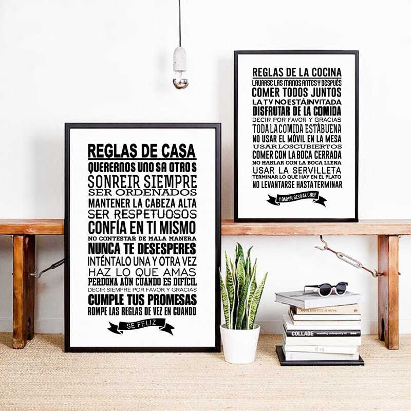 Spanish House Rules Wall Art Canvas Painting Home Decor