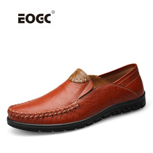 Full grain leather shoes casual driving shoes leather mocassin soft breathable outdoor flats shoes zapatillas hombre