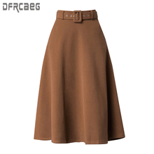 2019 プラスサイズ ラインソリッド女性のスカートカジュアル厚みのウールスカート A