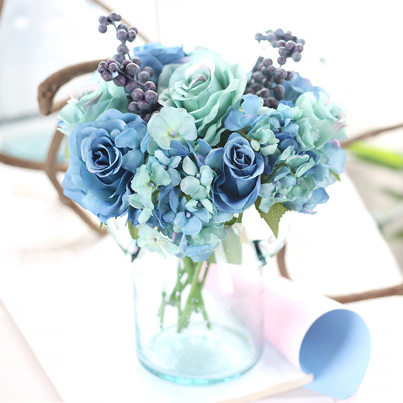 2pcsartificial silk blue rose flowers bouquet artificial berries 2pcsartificial silk blue rose flowers bouquet artificial berries floral wedding hydrangea artificial flowers for home decoration in artificial dried mightylinksfo Images