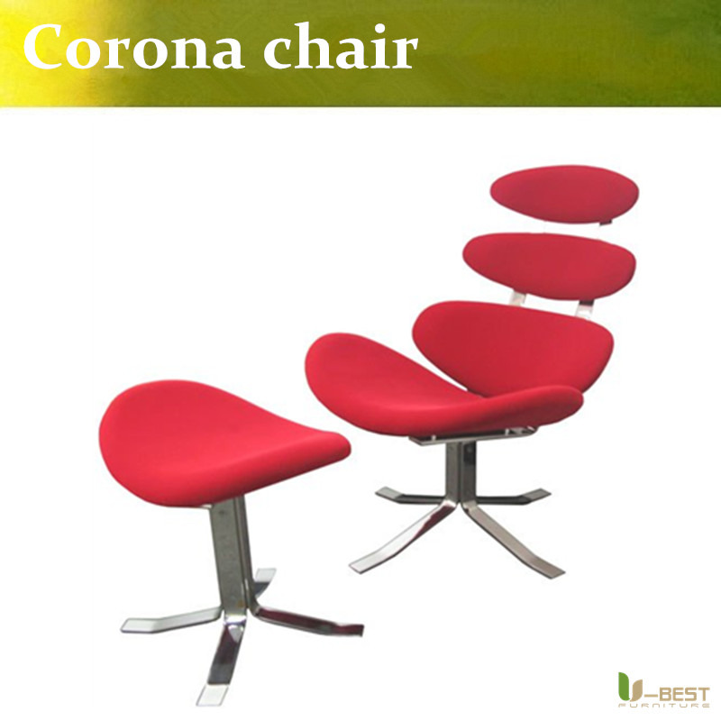 U-BEST Corona Chair + Ottoman fabric by Poul Volther (Platinum Replica),high quality reproduction leisure chair with stool u best replica eero aarnio half dome chair with fibreglass and high quality pu leather