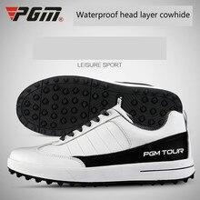PGM Гольф обувь мужская голова Слои коровьей фиксированной обувь с шипами Водонепроницаемый дышащая обувь на нескользящей подошве; кроссовки для мужчин Большие размеры