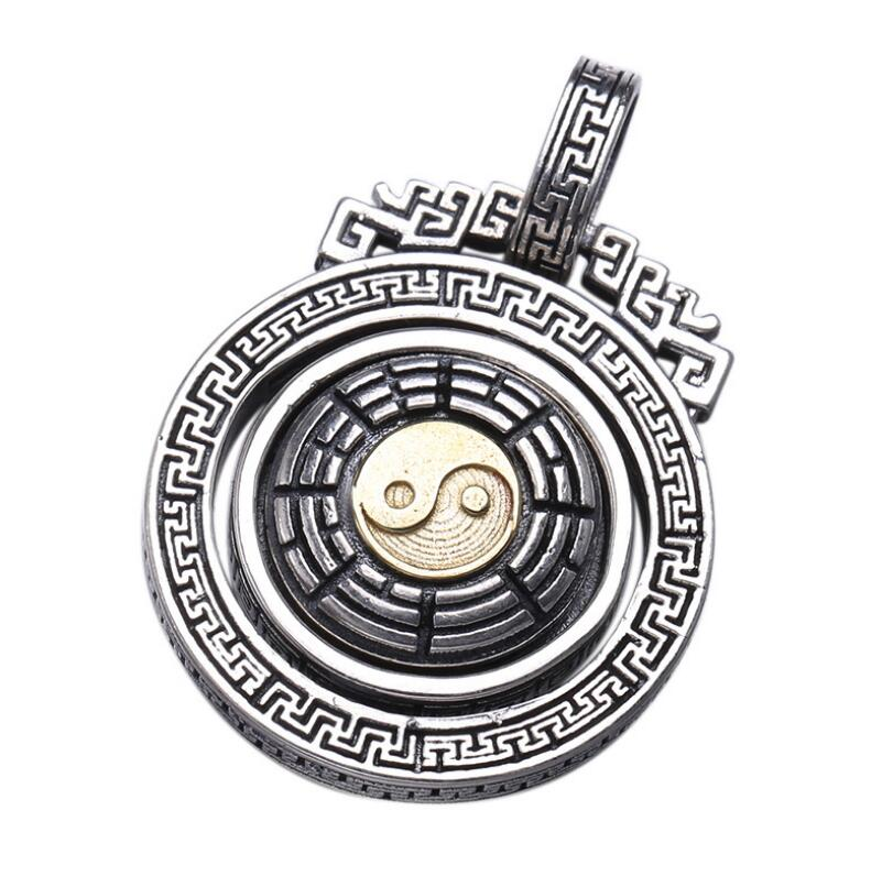 925 sterling silver jewelry disc can be rotated religous pendant (FGL)