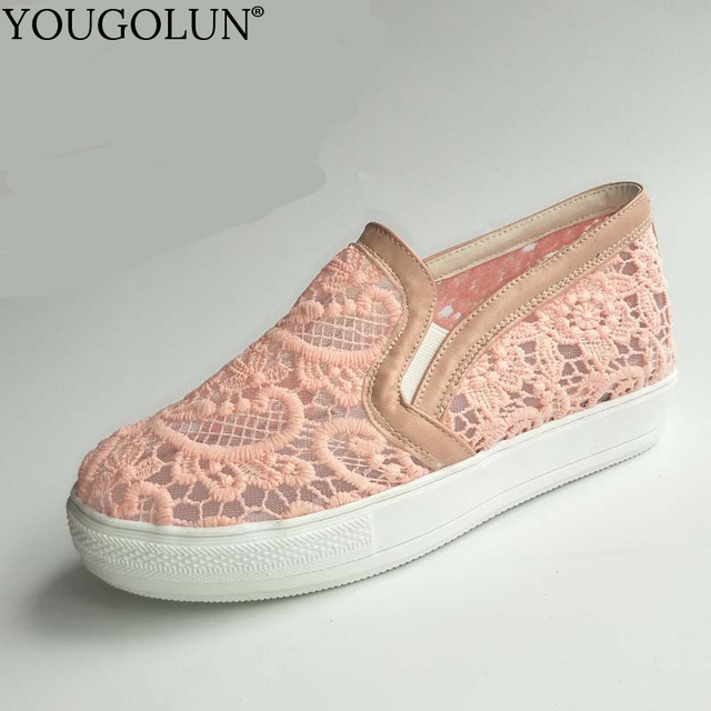 f918b94b36 YOUGOLUN Women Loafers New Summer Woman Mesh Flat Shoes Casual Ladies Pink  White Black Hollow Lace Flats #A-033