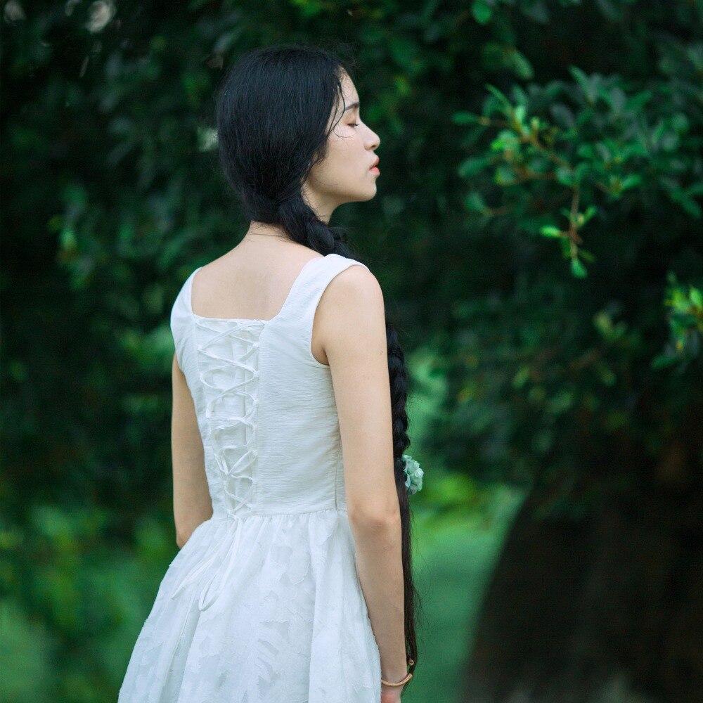 Luoman Seule Lumière Chinoiserie Col Pièce Lynette's Robe Bandage Fleur Blanc Dentelle Nouvelle Manches V Arrivée Mince D'été Sans D'une nwvNOym80