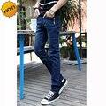 Мода 2016 Сплошной Синий Slim Fit Stretch Джинсы Multi Кнопка Повседневная Дизайн Подростков Ноги Карандаш Брюки Города Попы 28-34