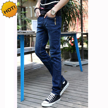 Fashion 2016 Solid Blue Slim Fit Stretch Denim Jeans Multi Button Casual Design Teenagers Leg Pencil Pants City Bottoms 28-34
