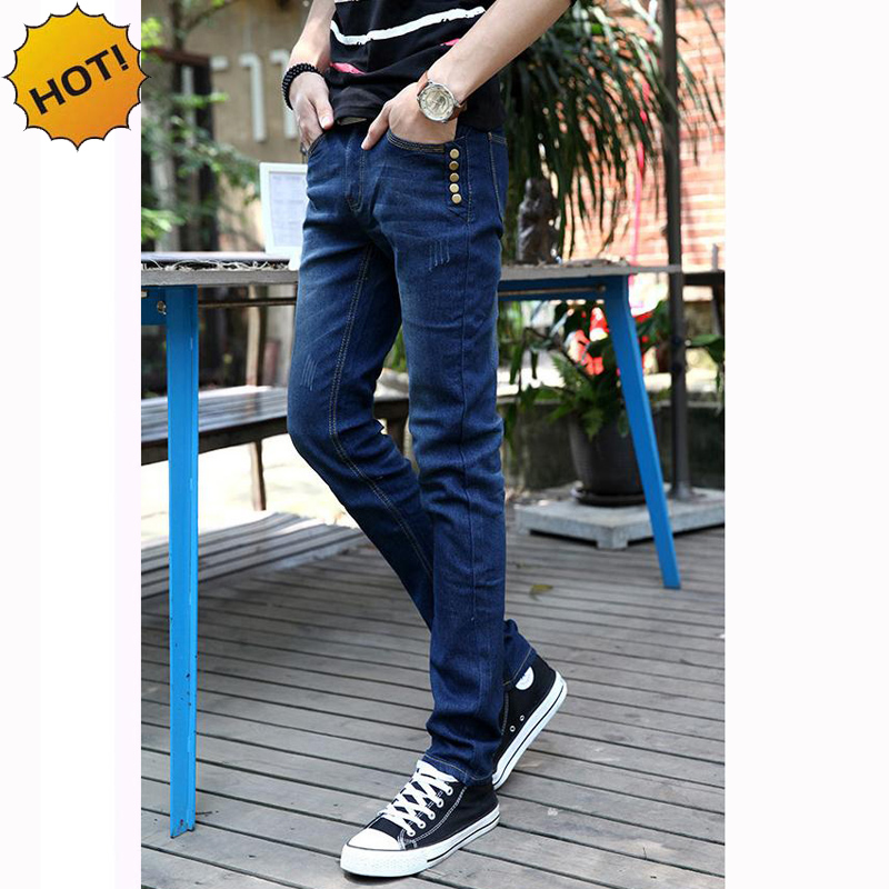 Fashion 2017 Solid Blue Slim Fit Stretch Denim Jeans Multi Button Casual Design Teenagers Leg Pencil