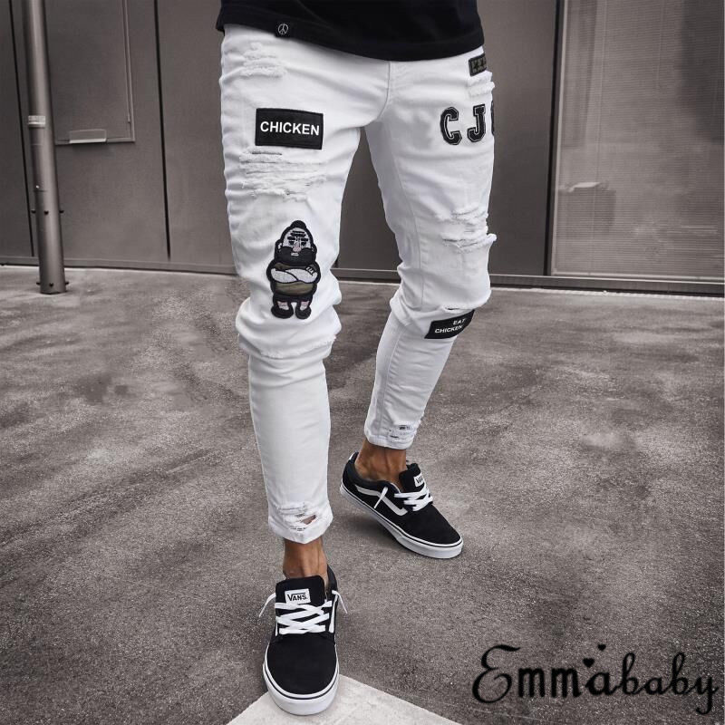 NEW Men Stretchy Ripped Skinny Biker Jeans Destroyed Taped Slim Fit Denim Pants Men Solid Casual Pants
