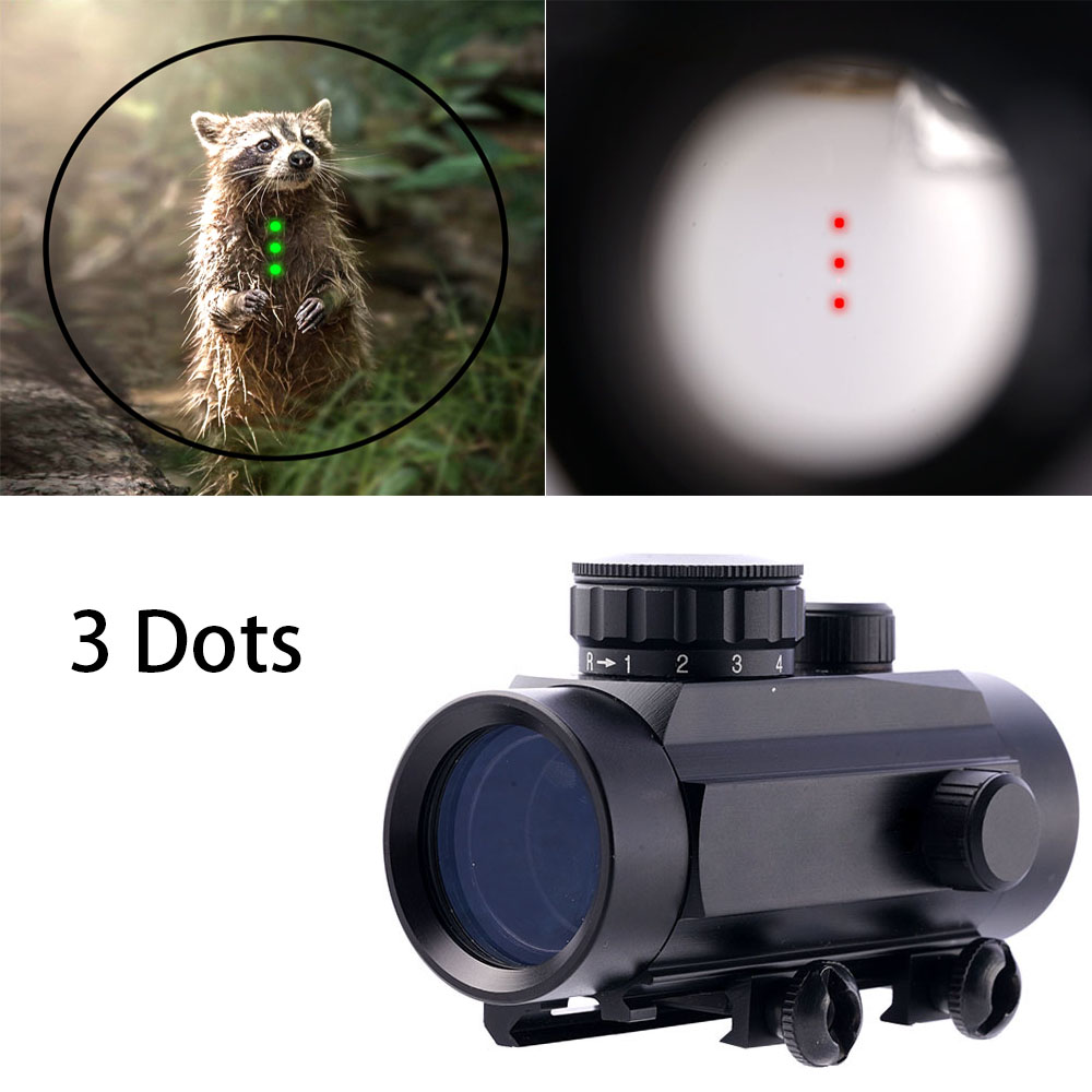 Magorui 1x30 Red Green Dot ShockProof Rifle Crossbow Sights Scope 3 Dots Sight 3 Points