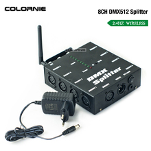 Wireless 8 Channel DMX512 Splitter DMX Stage Lights Signal Amplifier Splitter 8 way DMX Distributor for Party Disco Stage Light xtuga professional 8 channel uhf wireless microphone system 8 handheld mics independent channel volume control for stage party