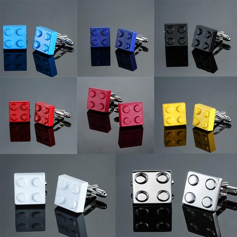 HYX Men Cufflinks Muti color Bricks Design Blue Red Black 8 Colors Option Copper Novelty Cuff