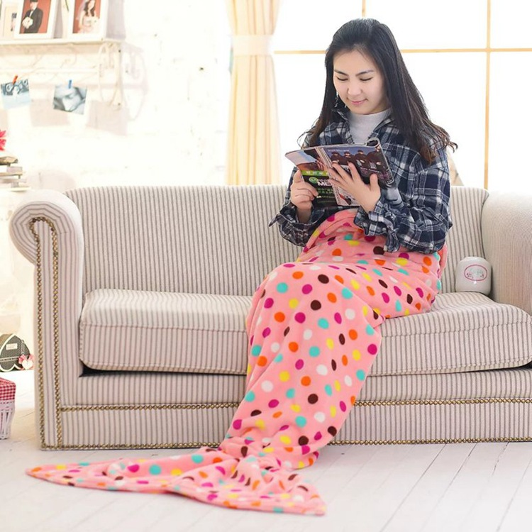 SunnyRain Coral Fleece Mermaid Blanket On Bed Sofa Throw Blankets For Children Kids Adults Two Sizes Available