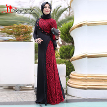 Arabic Hijab Muslim Evening Dresses Black and Wine Red Top Lace Beaded Long Sleeves Islamic Abaya Prom Gown 2016 Moroccan Kaftan