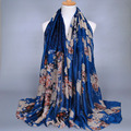 Girls Fashion Floral Viscose Shawl Scarf 2016 Printed Cotton Voile Muffler Headband Maxi Hijab Islamic Muslim Sjaal Foulard Soie