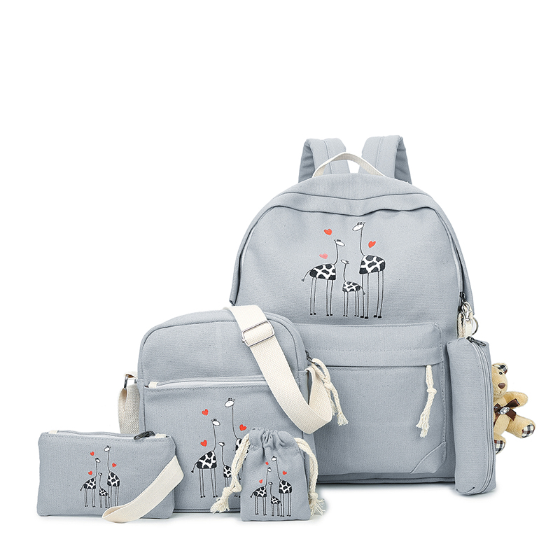 2017 New Girls Canvas Backpack Preppy 6 pcs/set Backpacks girl school backpack For Teenagers Student Shoulder Bag Boys Satchel  pleega new 2017 preppy style student leisure school bag teenagers girl canvas backpack boy school backpack big backpack notebook